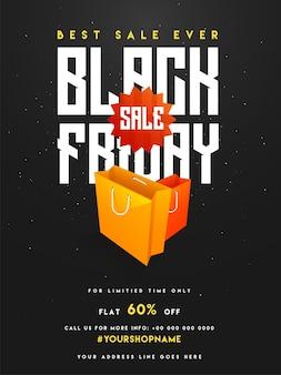 Black friday vente, bannière ou flyer design avec des sacs à provisions.