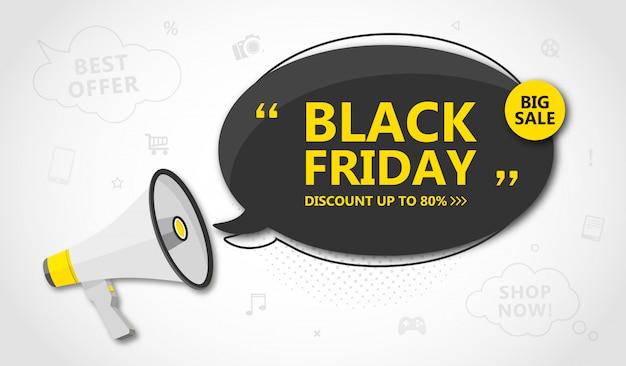 Black friday vente, bannière shopping et remise