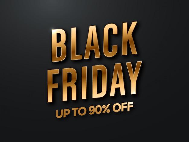 Black friday vente design avec lettrage noir et or