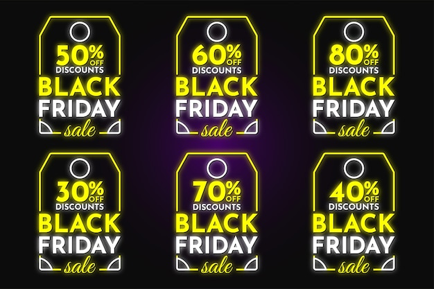Black friday vente discount tags collection néon style desgin vecteur premium