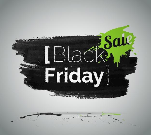 Black friday vente et discount vector illustration avec typographie. shopping à bas prix. promotion d'offres spéciales de magasin sur fond de peinture noire et verte