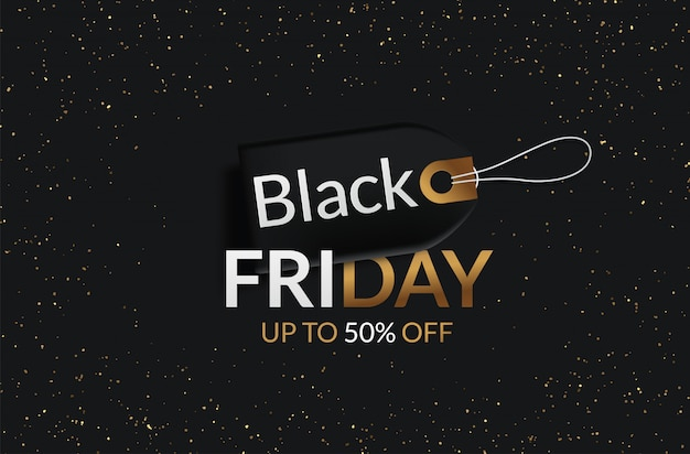 Black friday vente étiquette noire, bannière ronde, publicité, illustration