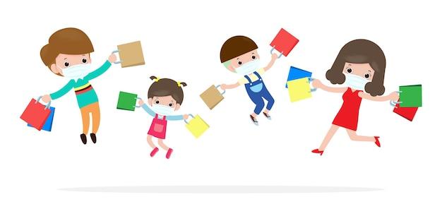 Black friday vente événement famille heureuse personnages cartoon avec sac à provisions, publicité affiche bannière grand rabais promo concept isolé sur fond rouge illustration