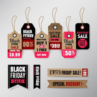 Black friday vente tag ruban bannières