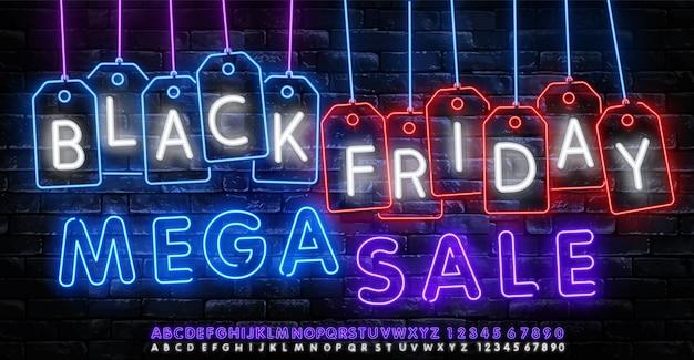 Black friday vente vecteur de bannière au néon. modèle de black friday signe au néon