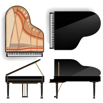 Black grand piano set icon