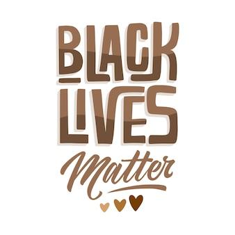 Black lives matter lettrage avec coeurs
