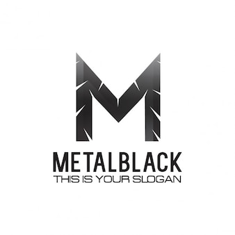 Black metallic lettre m logo