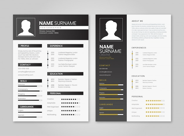 Black resume minimalist pack