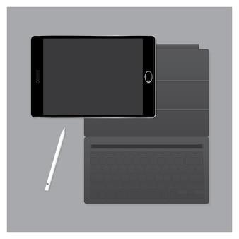 Black tablet pro avec étui à clavier