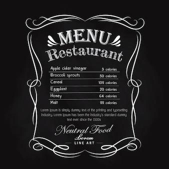 Black vintage restaurant menu main dessinée cadre vintage