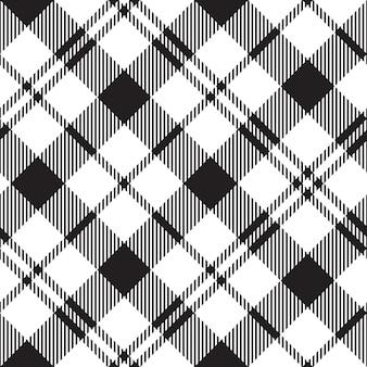 Black watch milytary tartan diagonal modèle sans couture noir et blanc