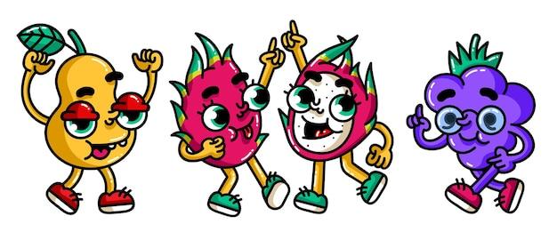 Blackberry et poire de dragon entier et demi icône de couleur de dessin animé plat de vecteur avec des émotions