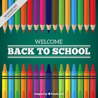 Blackboard fond avec des crayons