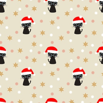 Blackcat mignon dans le modèle sans couture de saison de noël.