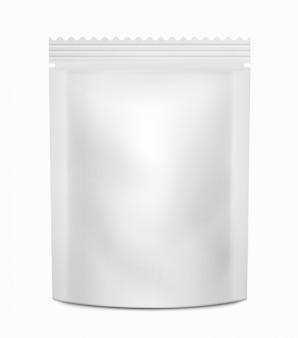 Blanc blanc emballage contenant des aliments ou des boissons.
