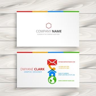 Blanc carte de visite avec des icônes colorées