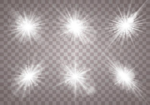 Le blanc clignote, s'allume, devient une étoile et brille sur un fond transparent.