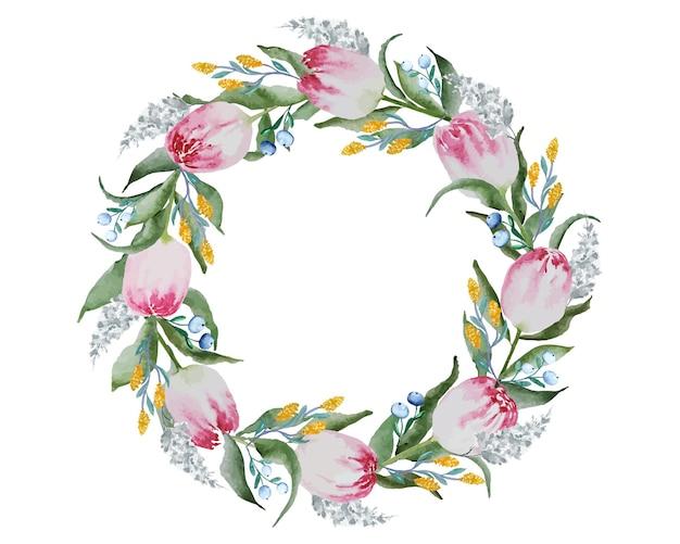 Blanc avec une couronne de fleurs de tulipe rouge