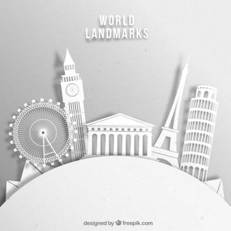Blanc monument silhouettes fond