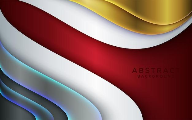 Blanc rouge métallisé numérique moderne avec un design de ligne argenté clair et brillant