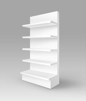 Blanc vide vide exposition commerce stand shop rack avec étagères vitrine isolé sur fond