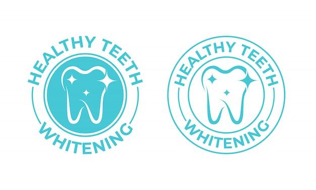 Blanchissement dentaire. étiquette d'emballage de blanchiment des dents saines