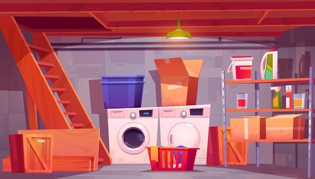 Blanchisserie à l'intérieur de la cave de la maison du sous-sol avec lave-linge et sèche-linge détergents sur étagères