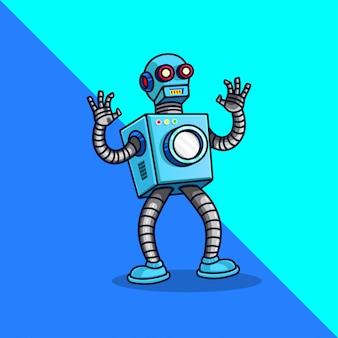 Blanchisserie, machine, lavage, modèle de logo d'entreprise robot. couleur plate. icône