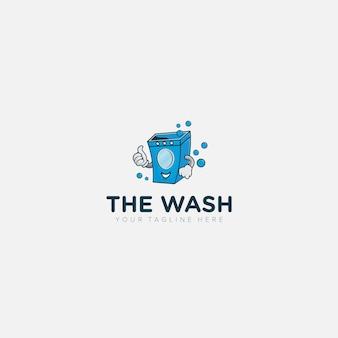 Blanchisserie moderne, logo de mascotte de machine à laver s