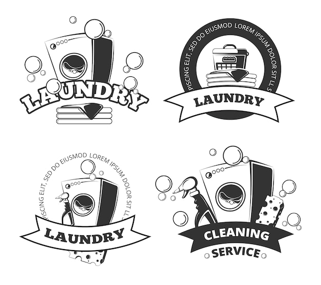 Blanchisserie vintage, étiquettes de vecteur propre et sec, emblèmes, logos, ensemble de badges. panier et machine à laver