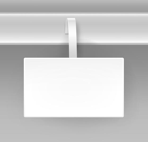 Blank white square papper publicité en plastique prix wobbler vue de face isolé sur fond