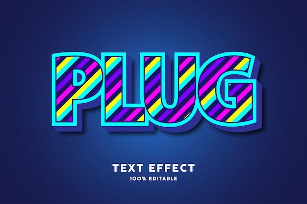 Bleu 3d avec des lignes colorées modernes effet de texte en gras