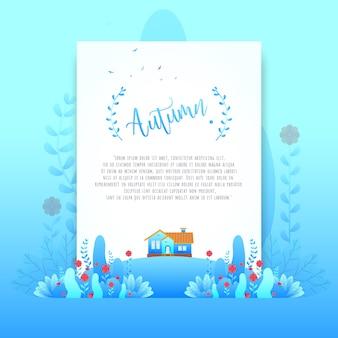 Bleu automne fleurs belles dégradés pour carte d'invitation
