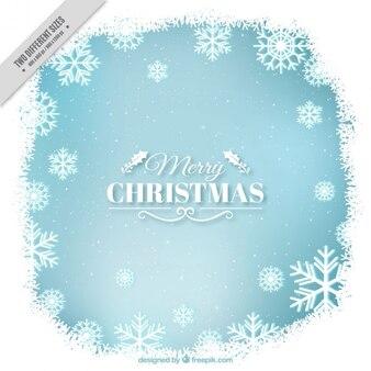Bleu et blanc fond de noël avec des flocons de neige