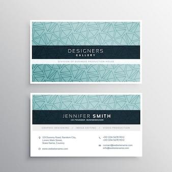 Bleu business carte modèle minimal avec des motifs triangulaires abstraits