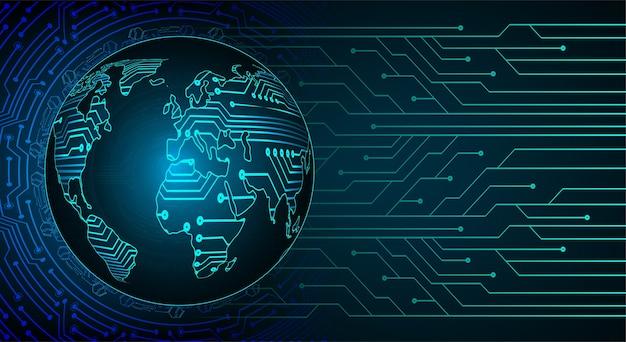 Bleu carte du monde fond de technologie abstraite légère pour infographie.