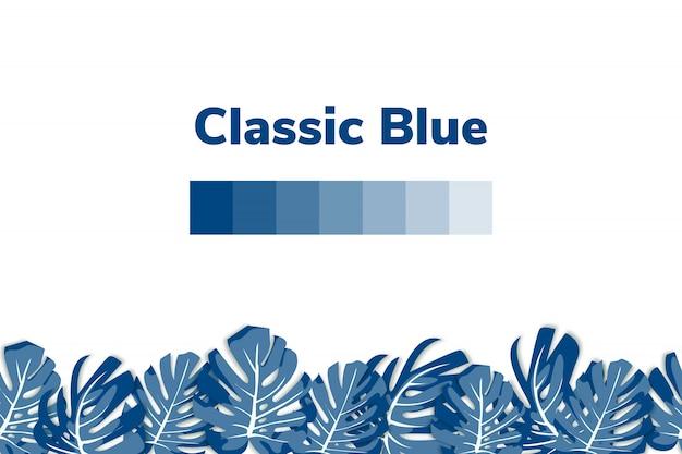 Bleu classique. couleur tendance de l'année 2020. fond floral avec leves monstera.