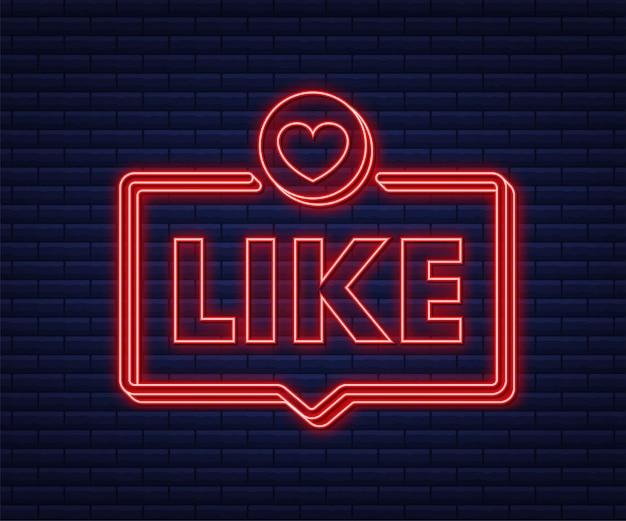 Bleu comme le néon sur fond clair. icône de pouce vers le haut. réseau de médias sociaux. illustration vectorielle de stock.