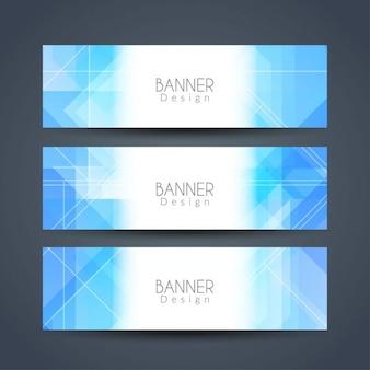 Bleu couleur bannières géométriques définies