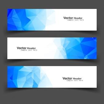 Bleu couleur bannières polygonales
