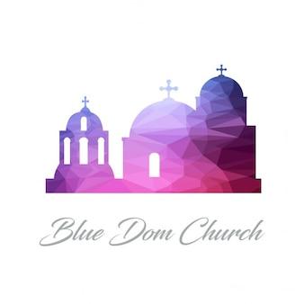 Bleu dom eglise polygon