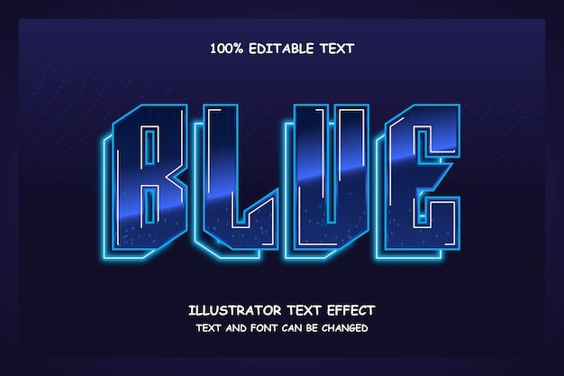 Bleu, effet de texte modifiable 3d style moderne modèle néon