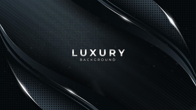 Bleu foncé avec effet de lignes courbes fond de vecteur avec des formes de platine argentées design de luxe moderne