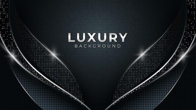 Bleu foncé avec des lignes courbes fond de vecteur avec des formes de platine argentées design de luxe moderne
