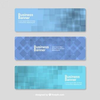 Bleu avec des formes carrées bannières