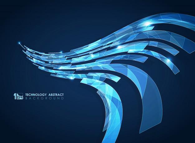Bleu géométrique abstrait de lignes carrées de bande futuriste.