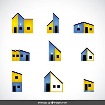 Bleu et jaune logos immobiliers collection