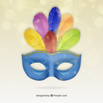 Bleu masque de carnaval avec des plumes colorées