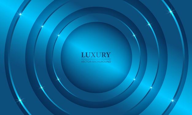 Bleu métallique de luxe d abstrait géométrique avec des cercles et des lumières